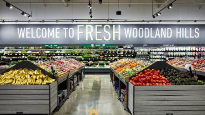 The produce department within an Amazon Fresh grocery store