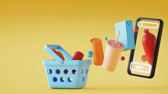 Illustration of a mobile phone with basket and grocery on yellow background.