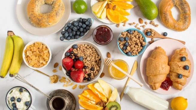 Top view of a healthy breakfast on a grey background