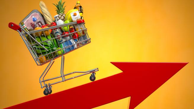 nflation, growth of food sales, growth of market basket or consumer price index concept. Shopping basket with foods on arrow. 3d illustration