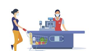 Vector illustration of a female grocery shopper and a female cashier