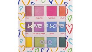Eye shadow palette with hearts on the package